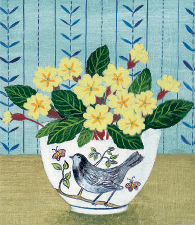 Debbie George Bird Bowl and Primroses SKU: 20B/2 contemporary art greetings card