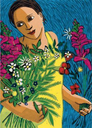 Anita Klein June Flowers SKU: 55WPA/2 contemporary art greetings card
