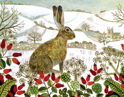 CHRISTMAS CARD PACK (5) Hare in the Snow