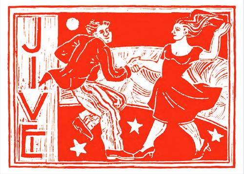 Ophelia Redpath Jive SKU: 57WPA/1 contemporary art greetings card