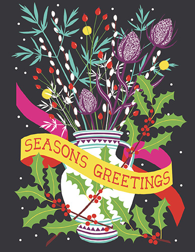 5 CARD PACK Seasons Greetings