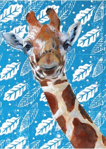 Giraffe on Blue Blockprint