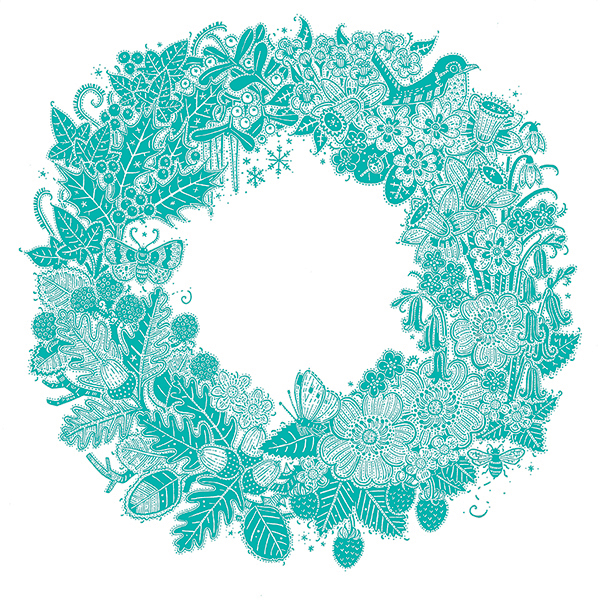 Embossed Card: 4 Seasons Wreath