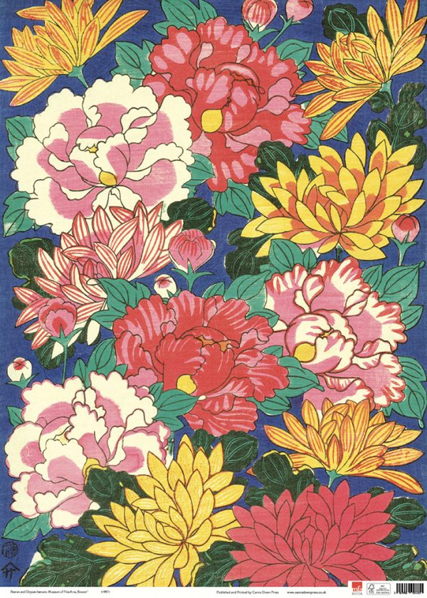 MFA Chysanthemums and Peonies Gift wrap sheet full size