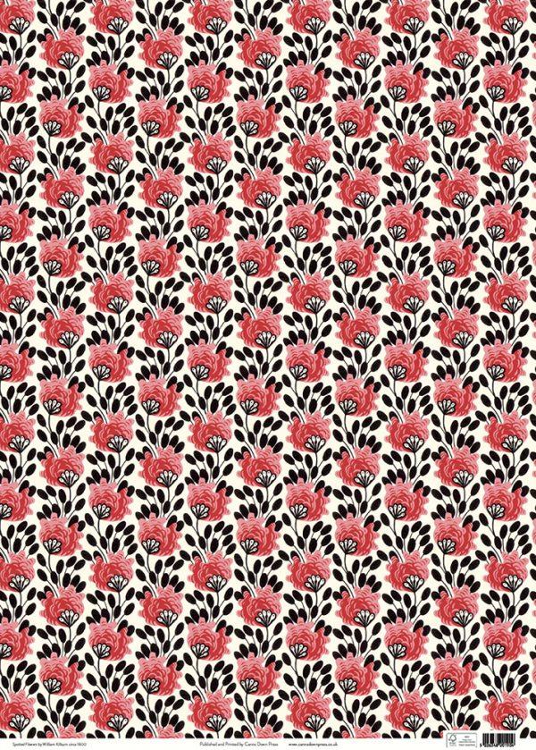 Kilburn Pink Flowers Gift wrap sheet full size
