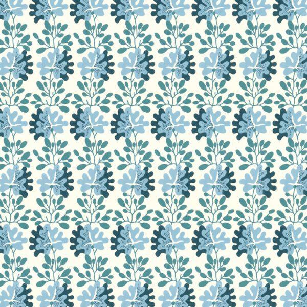 Kilburn Wallpaper blue flower wrap sheet
