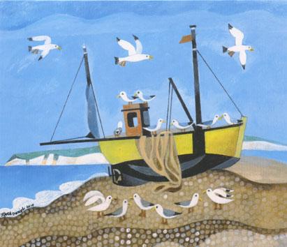 Yellow Boat, Beer Beach, Devon