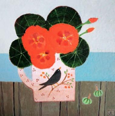 Blackbird and Nasturtiums