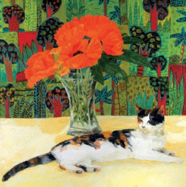 Tortoiseshell Cat and poppies