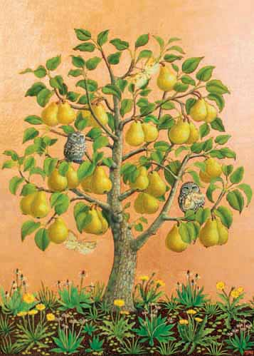 Bosc Pears with Little Owls