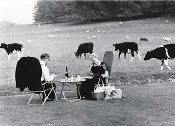 Opera fans relaxing at Glyndebourne  Glyndebourne, 1967