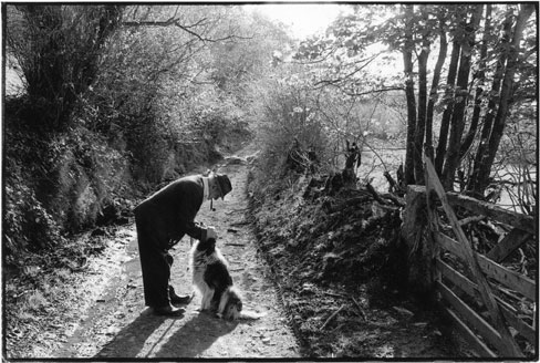 Archie Parkhouse and his dog Sally, Millhams, Dolton, Devon 1982