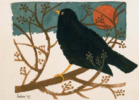 CHRISTMAS CARD PACK (5) Blackbird In the Snow
