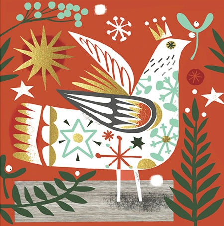 CHRISTMAS CARD PACK (5) Christmas Bird