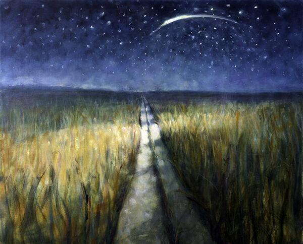 Bill Jacklin Path through the field at night contemporary art greetings card