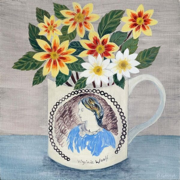 Debbie George Virginia Woolf Cup and Dahlias contemporary art greetings card