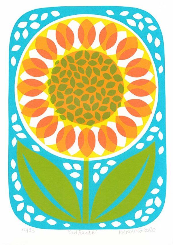 Karoline Rerrie Sunflower contemporary art greetings card